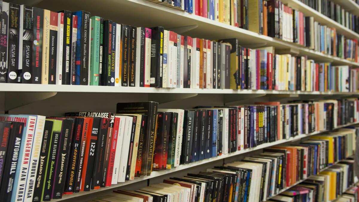 Divarin hyllyissä on paljon kirjoja.