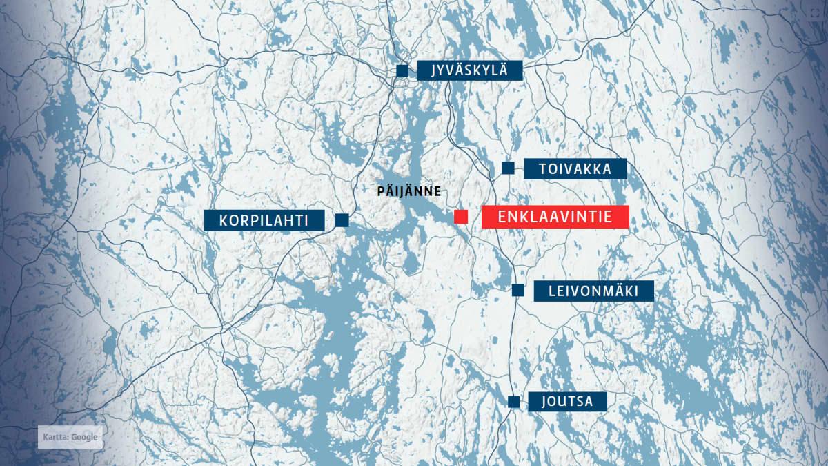 Enklaavintie kartalla.