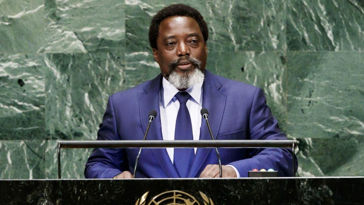 Joseph Kabila puhumassa YK:n yleiskokouksessa syyskuussa 2018.