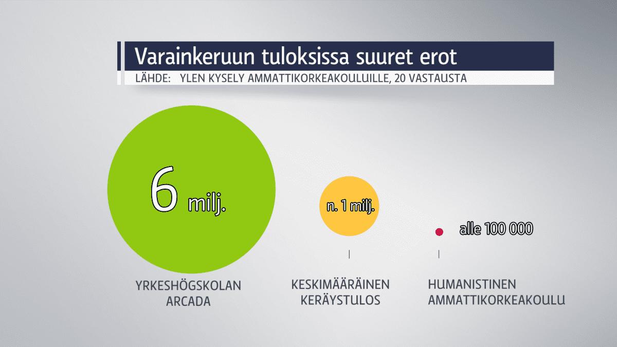 Grafiikka ammattikorkeakoulujen varainhankinnan tuloksista.