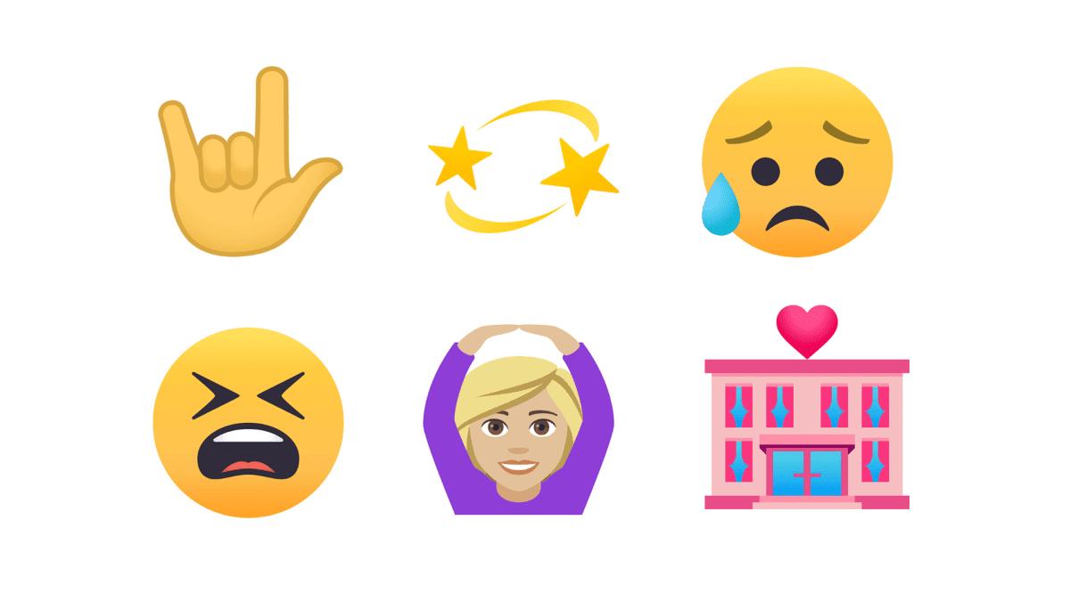 Kuva, jossa kuusi erilaista emojia.