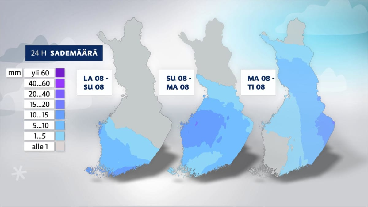 Kolmen päivän lumimäärä ennuste
