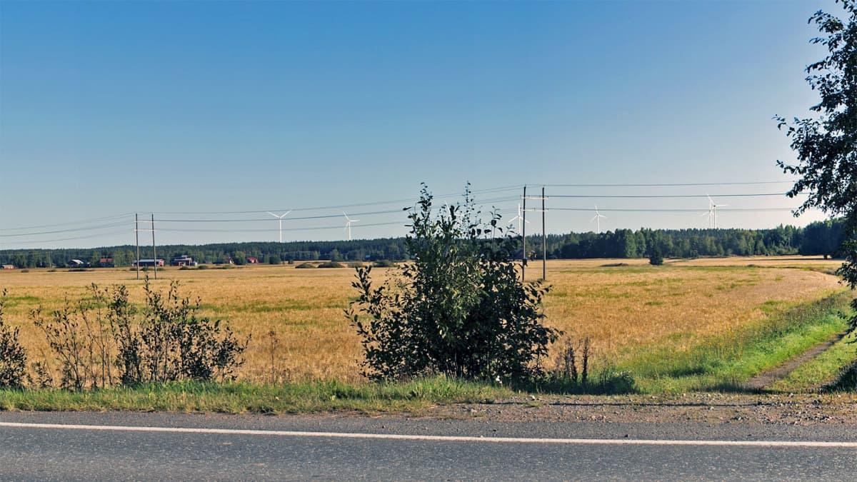 Kuvasovite Tyrinselän nykyisistä ja suunnitelluista tuulivoimaloista Ypäjältä päin kuvattuna.