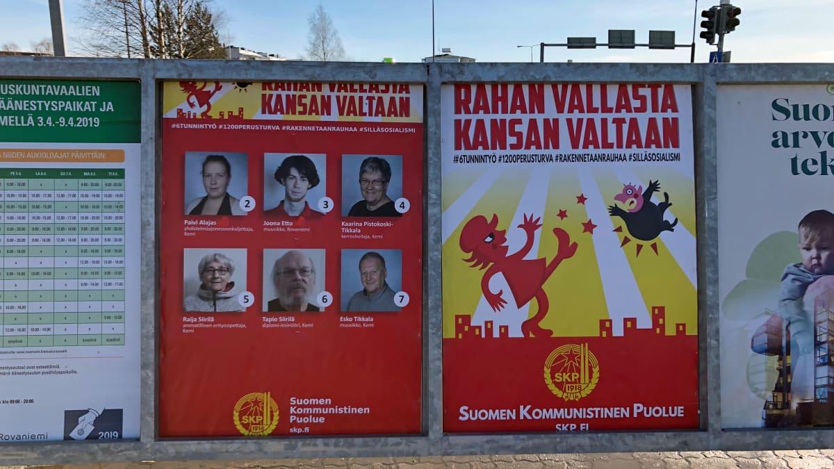 Vaalimainontaa Rovaniemellä 2019, Suomen Kommunistinen puolue