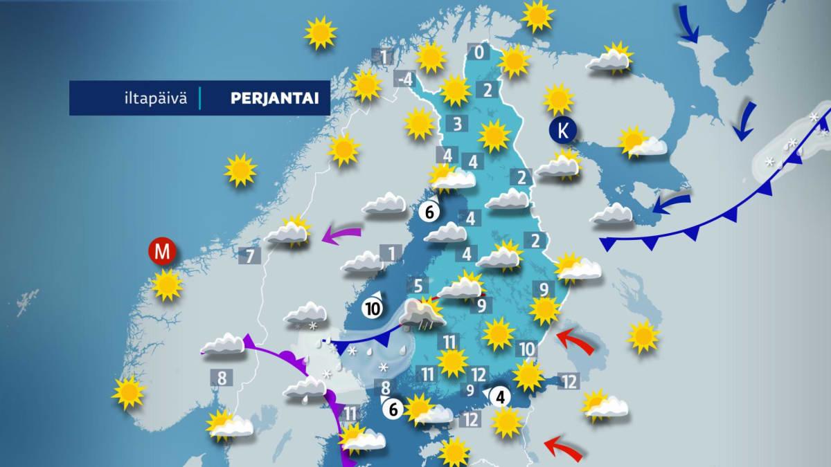 Sääennuste perjantaille 5. huhtikuuta.