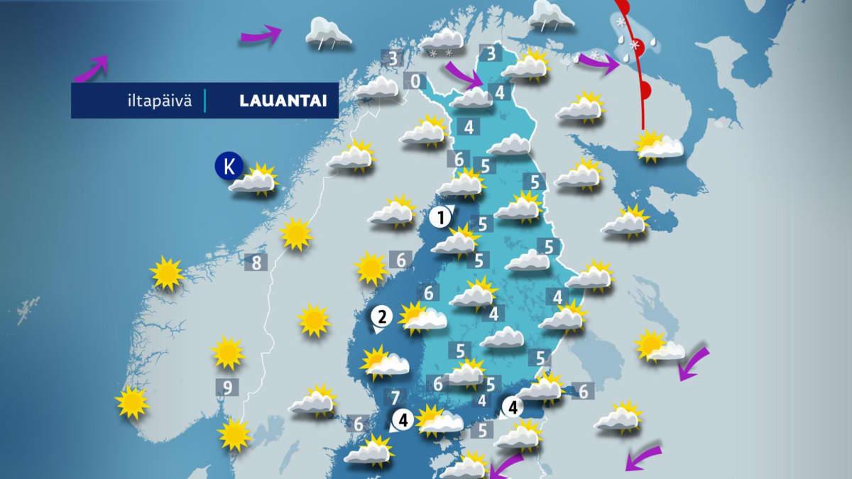 Sääennuste lauantaille 13. huhtikuuta.