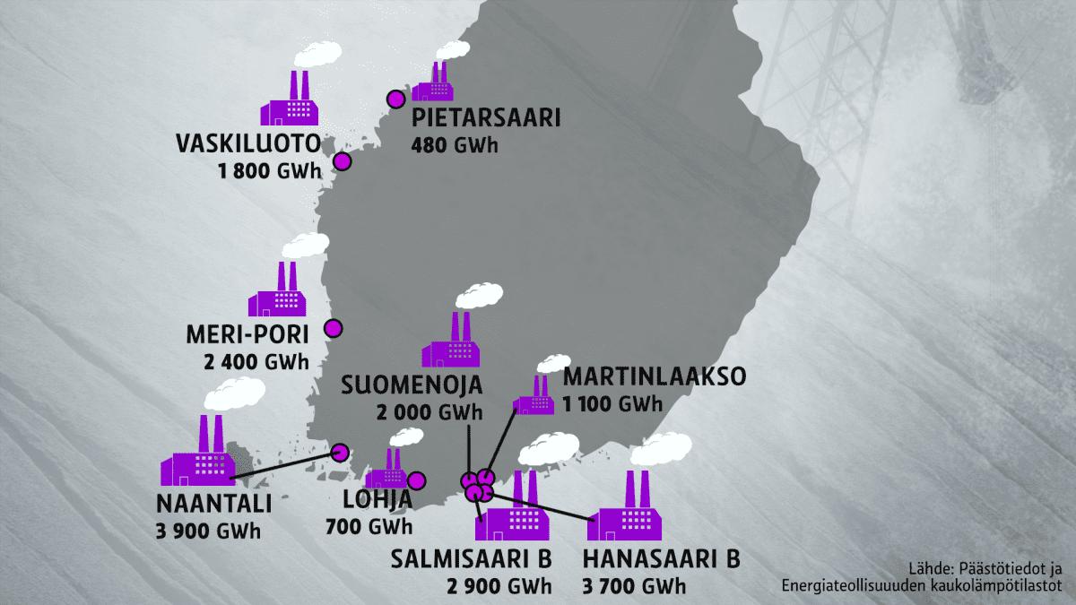 Kartta kivihiiltä polttavista voimaloista Suomessa.