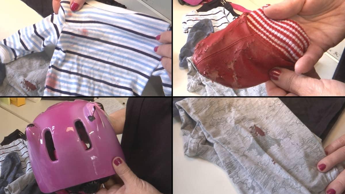 Likaisia ja rikkinäisiä lasten vaatteita