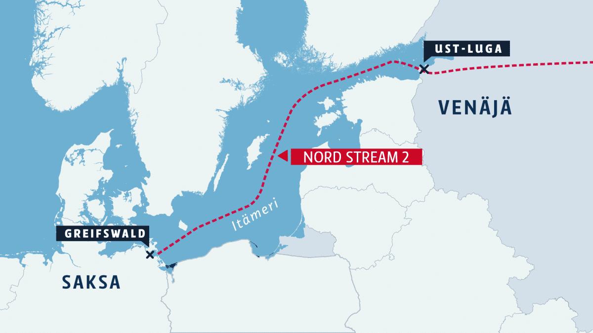 Nord Stream 2 -kaasuputken linjaus Itämerellä Saksasta Venäjälle.