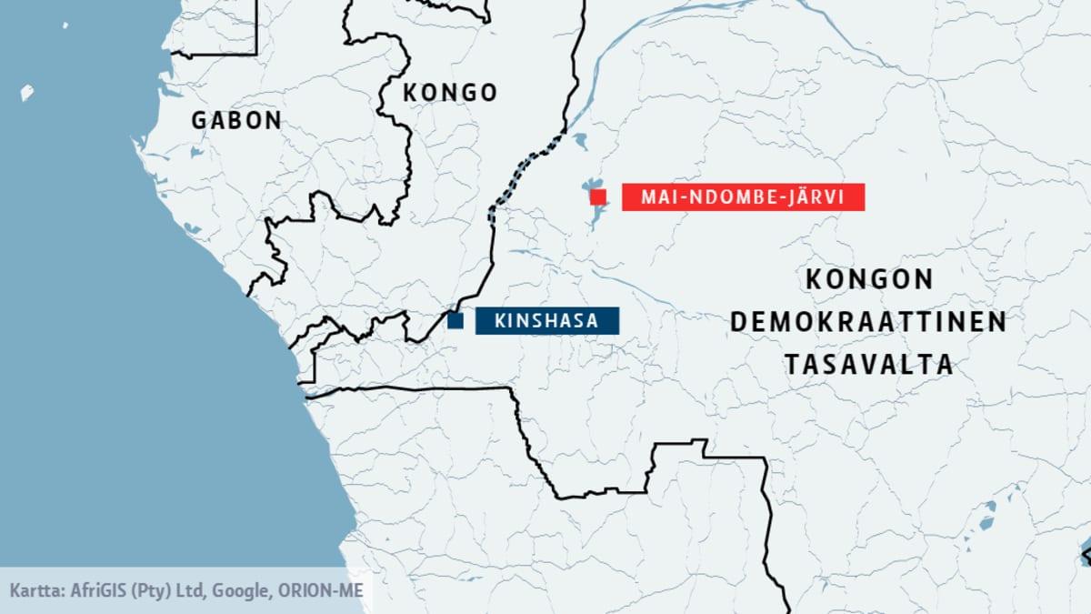Karttakuva. Kymmeniä ihmisiä hukkui Mai-Ndombe-järvellä Kongon demokraattisessa tasavallassa.