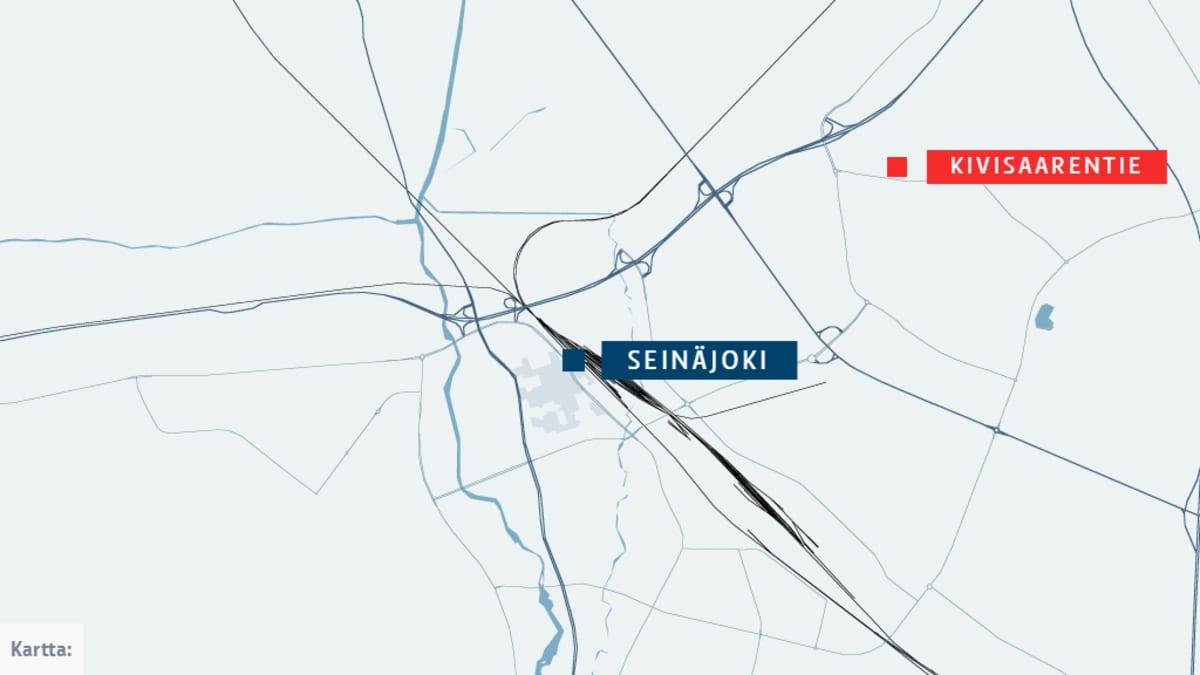Kartta. Onnettomuus tapahtui taajamassa Hyllykallion alueella.