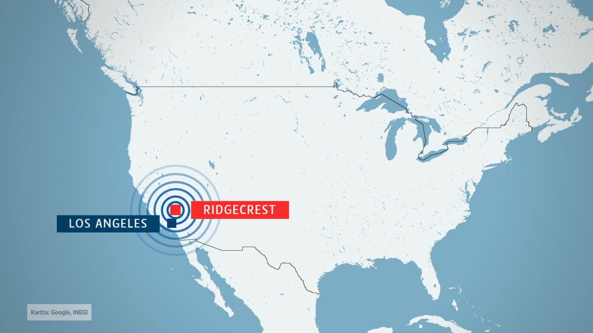 Kartta, jossa näkyy Ridgecrestin kaupungin sijainti Yhdysvalloissa.