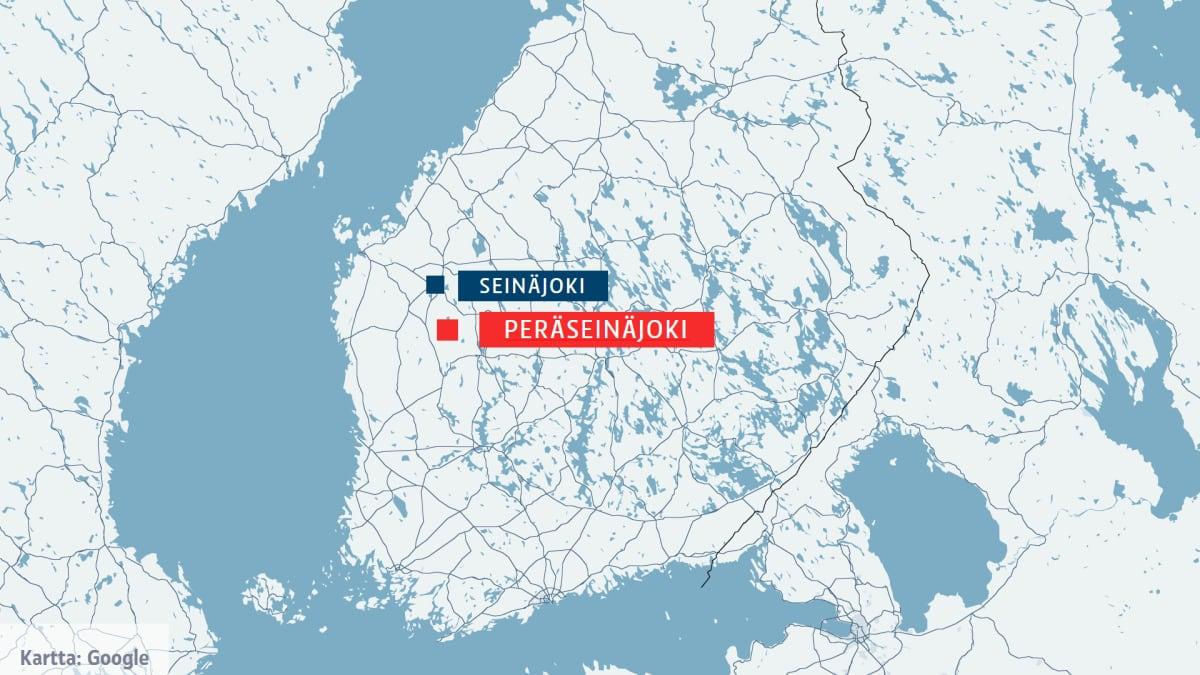 Peräseinäjoki kartalla.