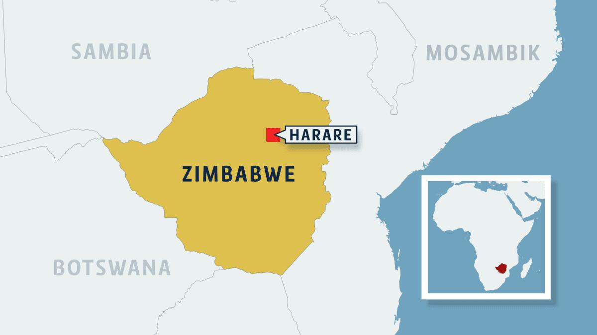 Zimbabwe ja Harare kartta