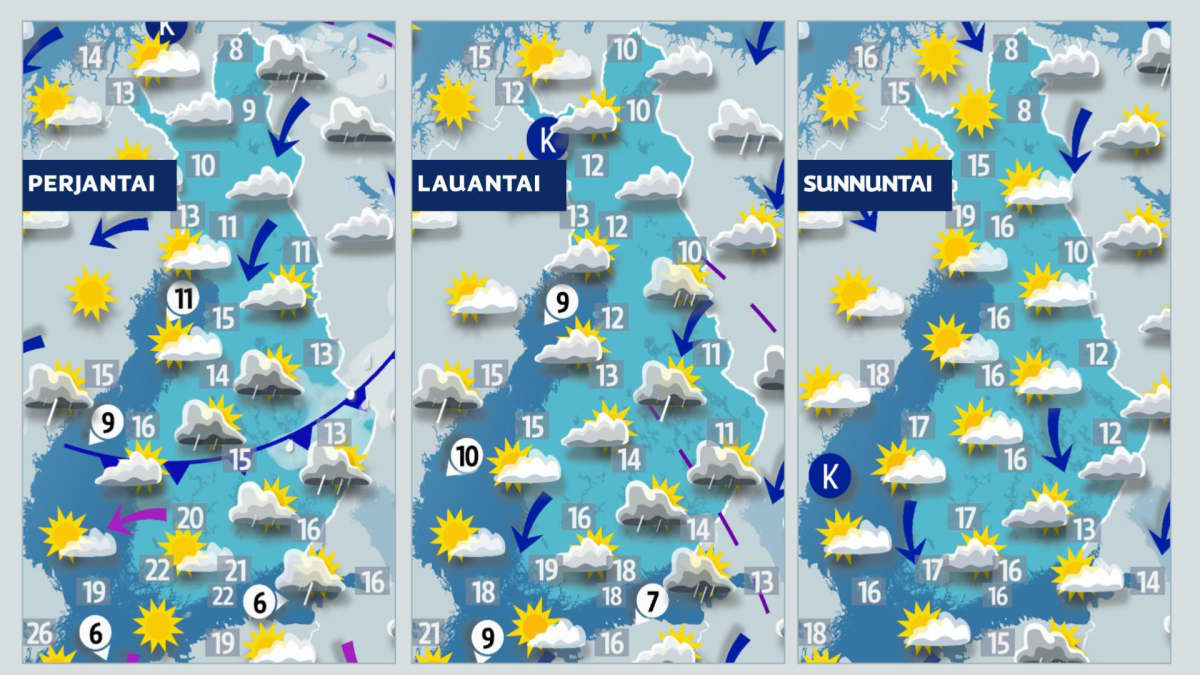 Viikonlopun sääkartat.