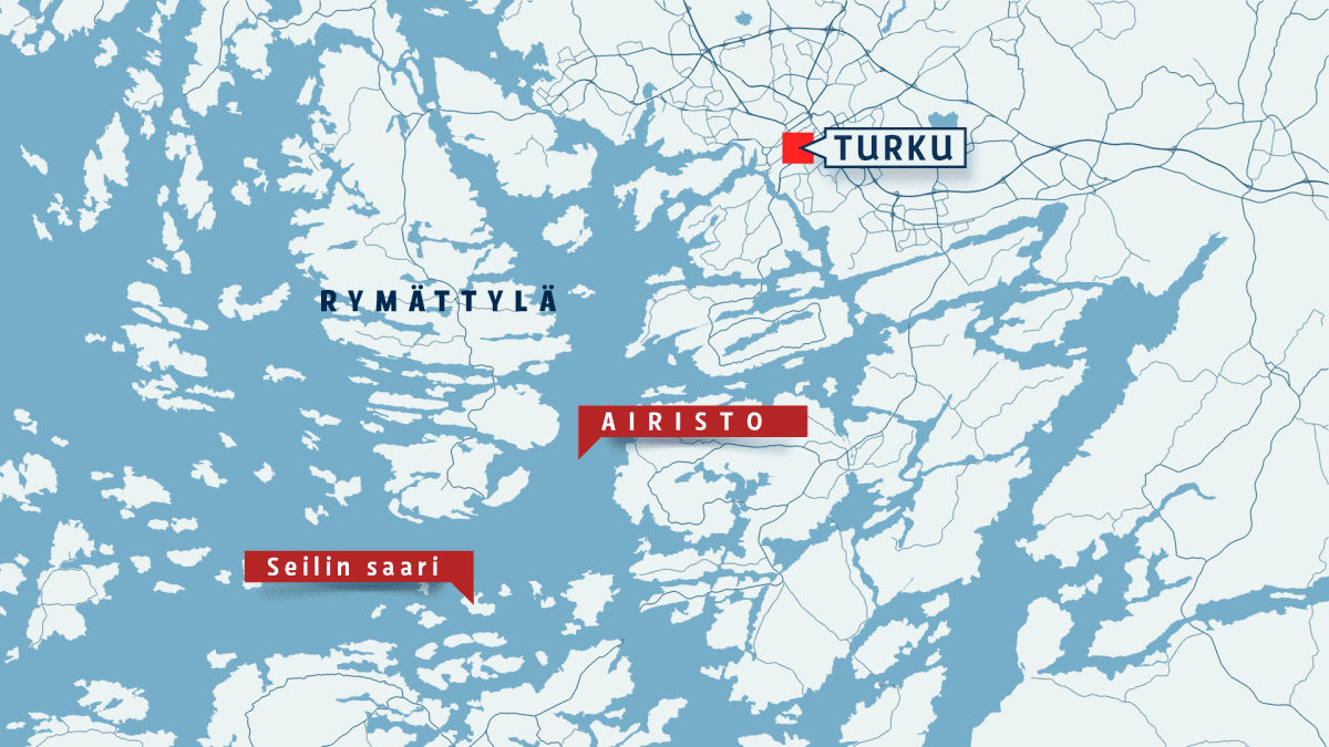 Kartta, jossa ovat Turun, Rymättylän, Airiston ja Seilin saaren sijainnit.