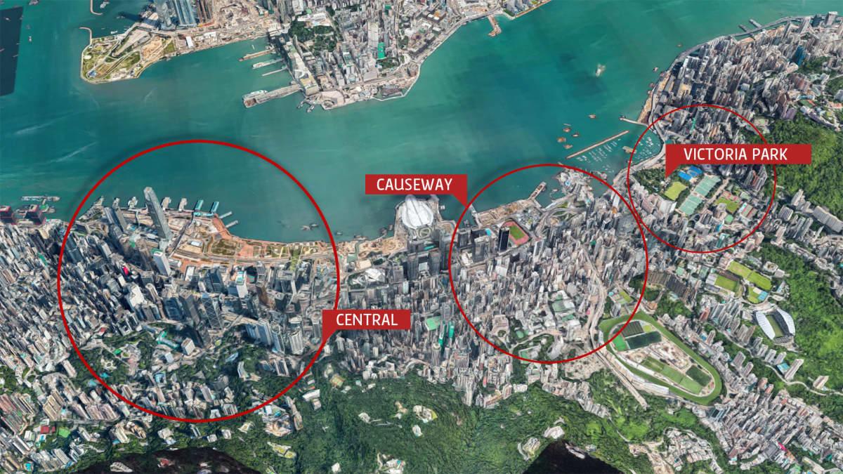 Victoria Parkin, Causewayn ja Centralin alueet sateliittikuvassa