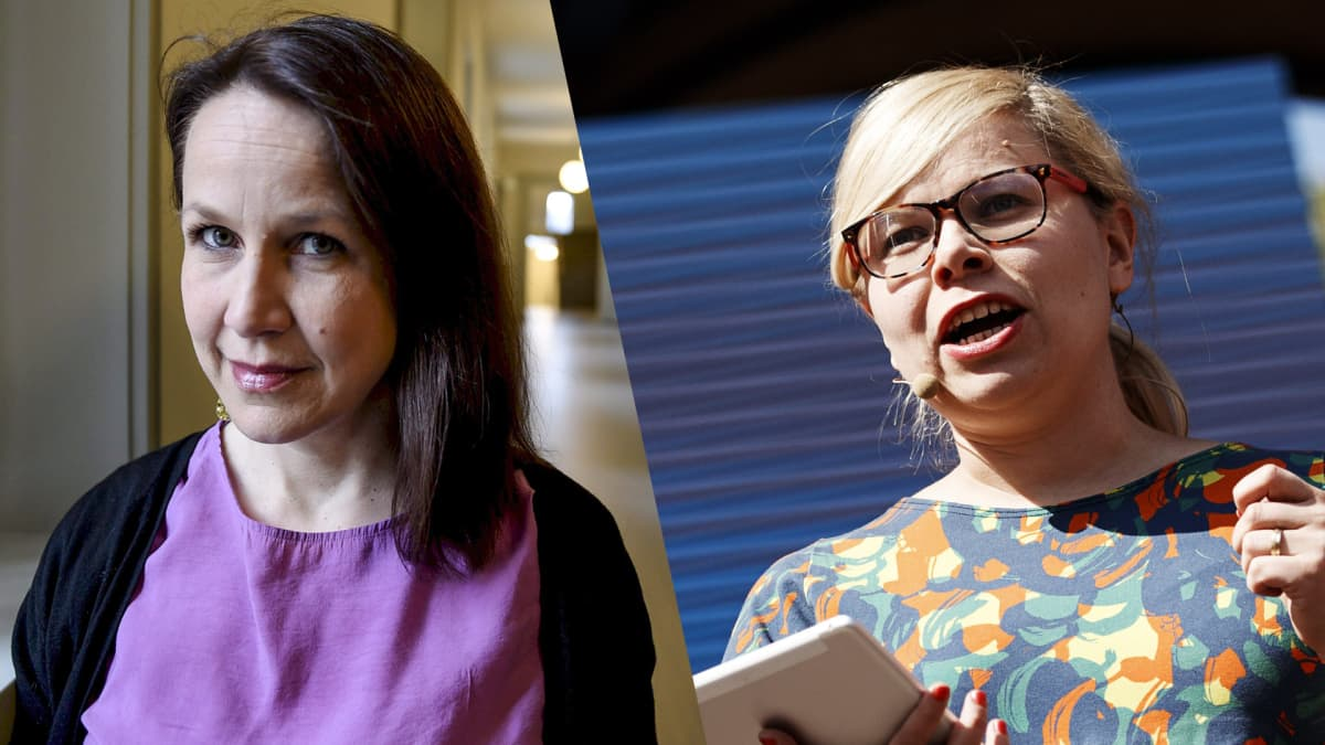 Kuvassa vasemmalla Vasemmistoliiton kansanedustaja Veronika Honkasalo ja oikealla Vihreiden kansanedustaja Saara Hyrkkö.