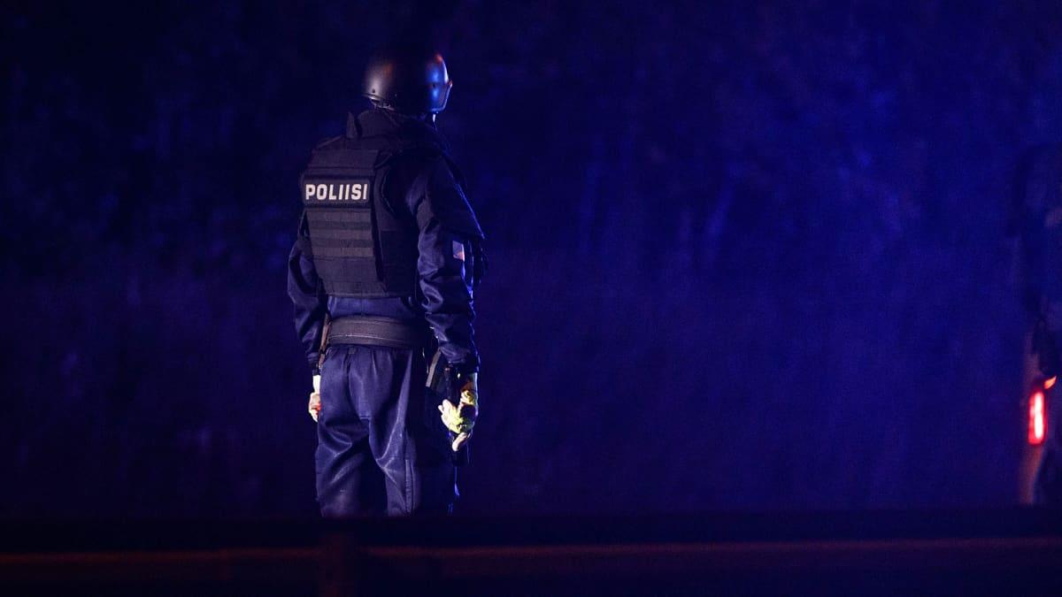 Aseistettu poliisi seisoo tiellä.