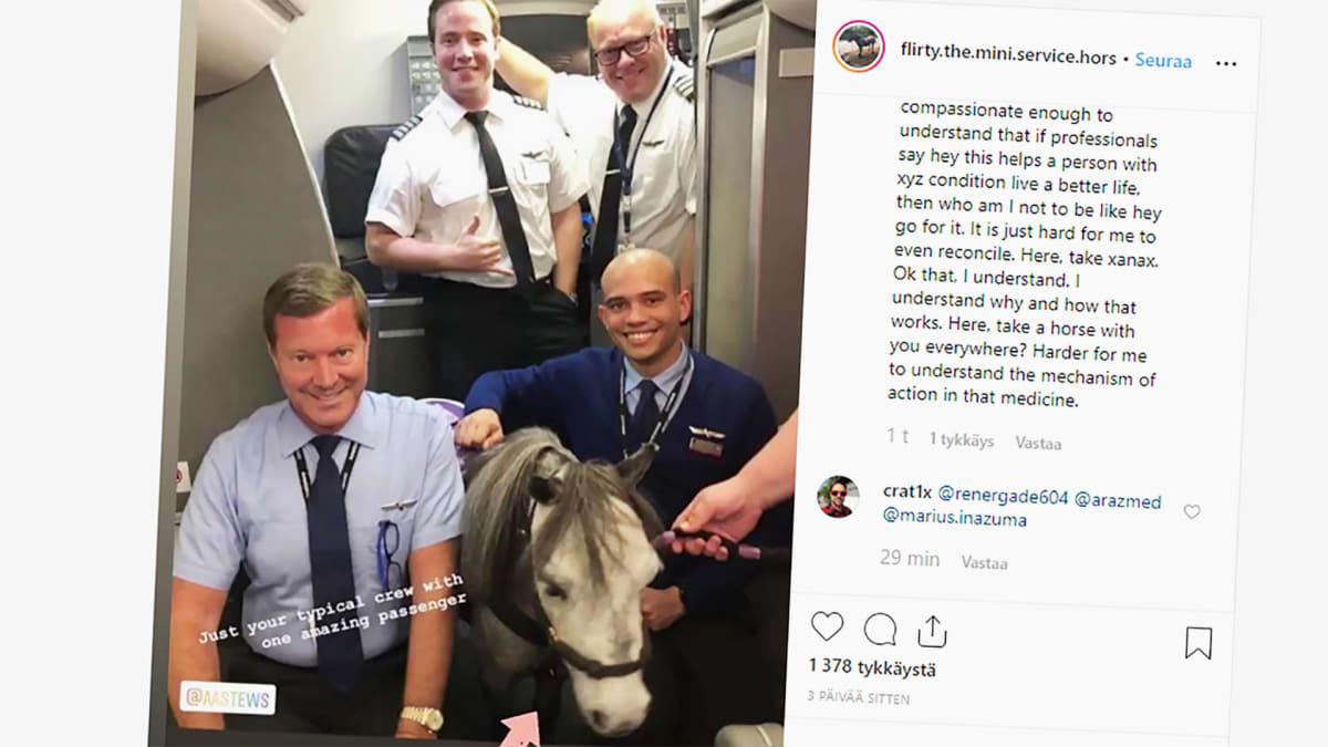 Flirty poni kuvakaappauksessa lentokoneen miehistön kanssa