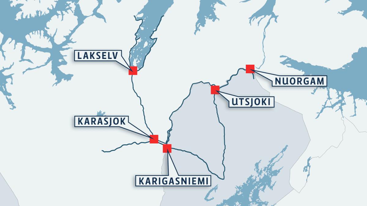 Suomen ja Norjan kirjastoauton reitti Utsjoen, Karasjoen Porsangin kunnissa.