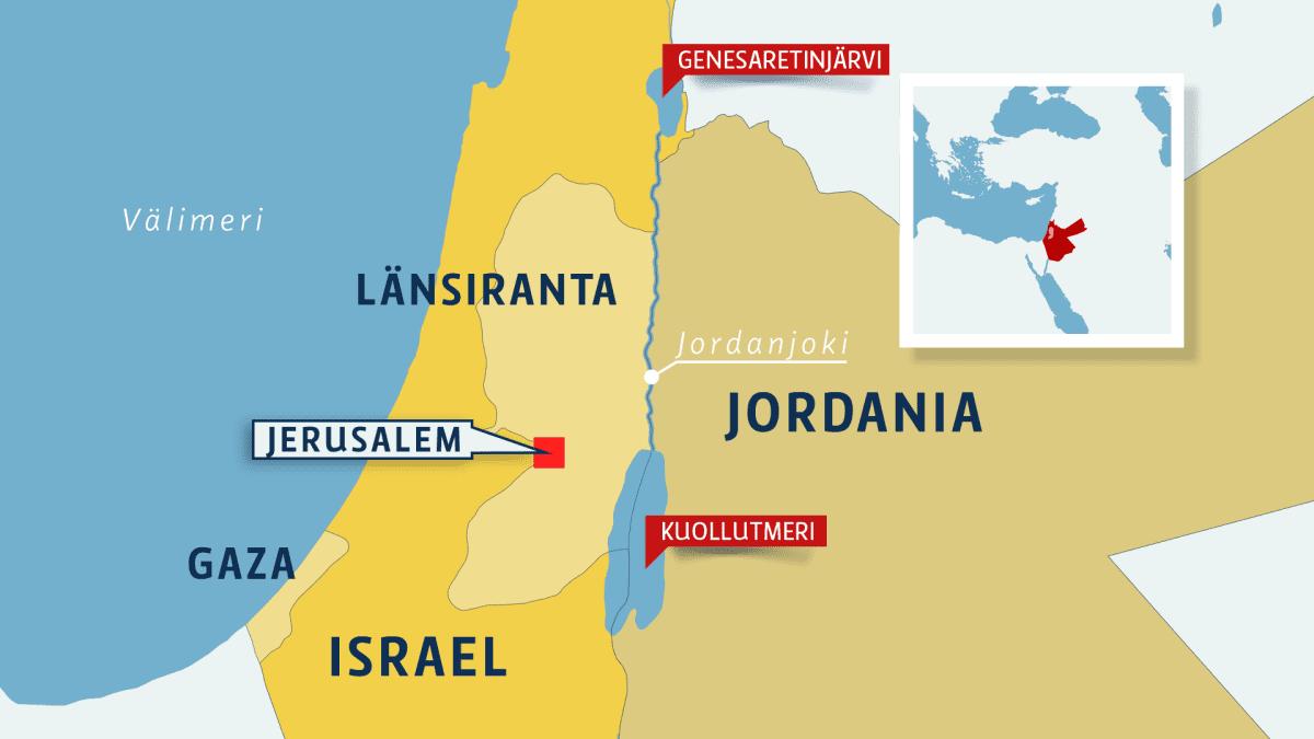 Kartta Israelin ja Jordanian välisestä Jordanjoesta.