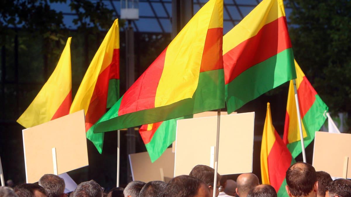 Erdoganin vastainen mielenosoitus Frankfurtissa elokuussa 2019. Syyrian kurdistanin liput liehuvat.