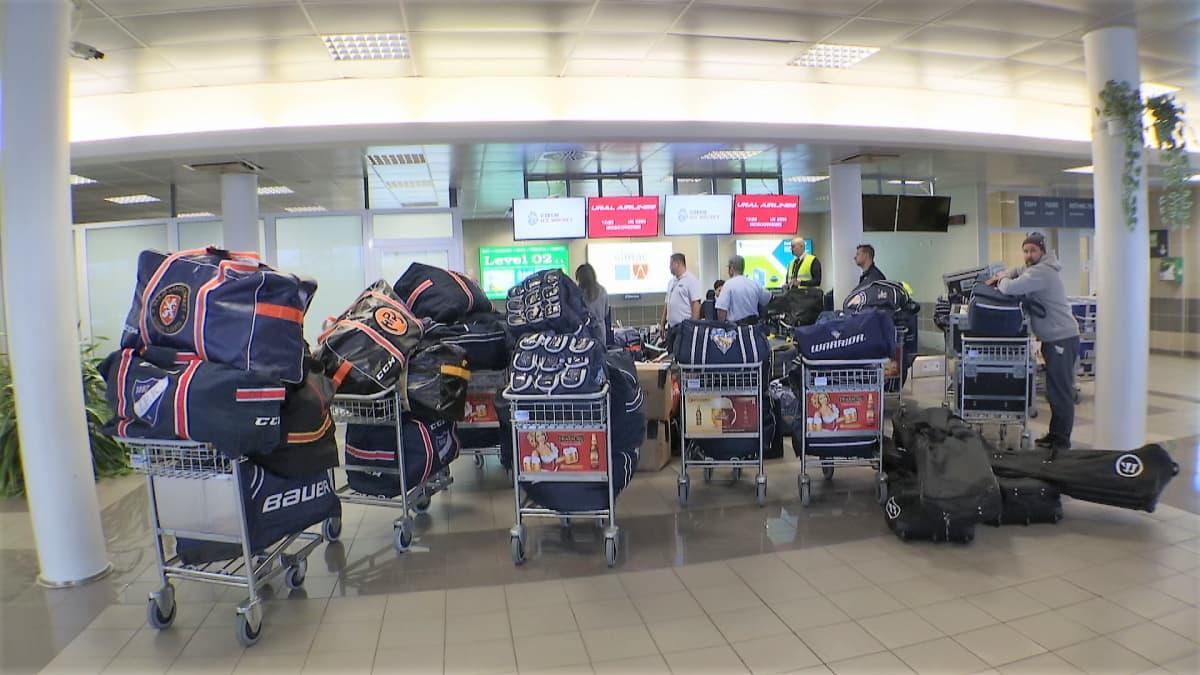 Leijonien tavarat lentokentällä