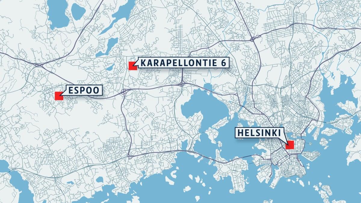 Kartta, johon on merkitty Karapellontie 6 Espoossa.