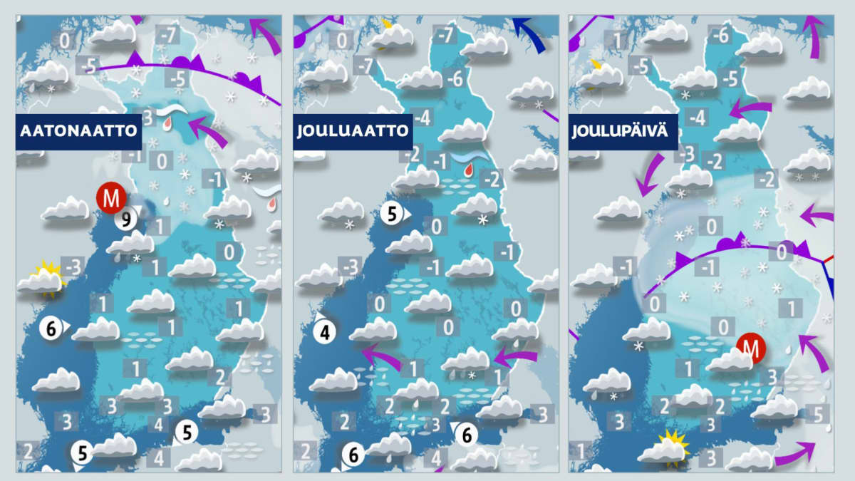 Sääennusteet maanantaista keskiviikkoon, ajalle 23.-25. joulukuuta.