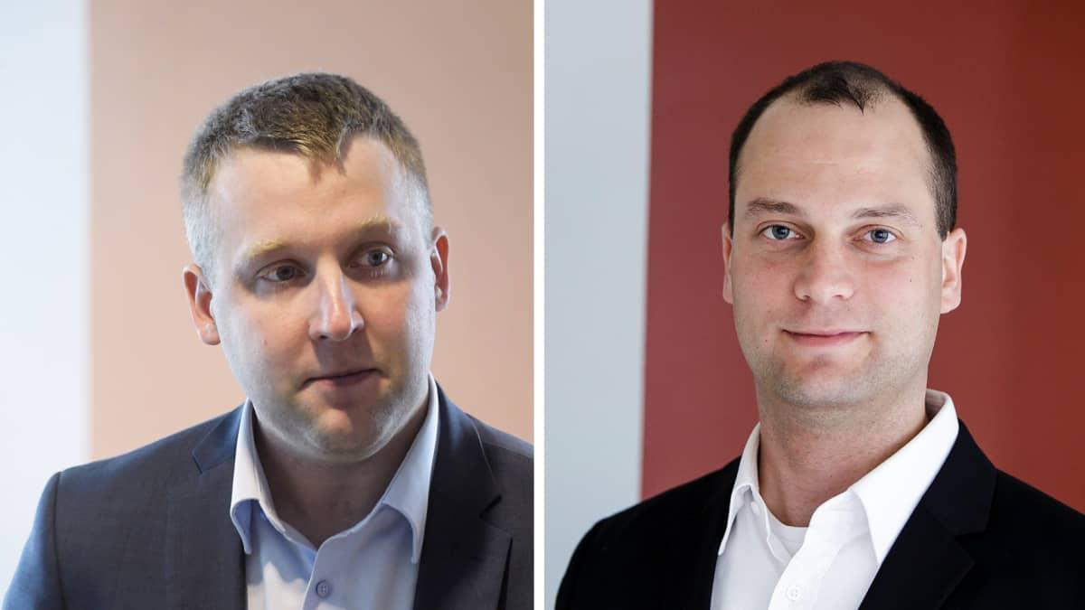 Kuvakollaasissa Teknologiateollisuuden pääekonomisti Petteri Rautaporras (vas.) ja Toimihenkilöjärjestö STTK:n pääekonomisti Patrizio Lainà.