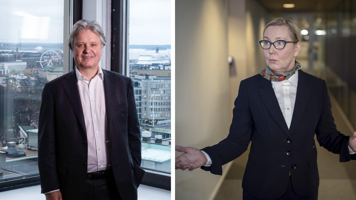Kuvakollaasissa Nordean väistyvä konsernijohtaja Casper von Koskull, sekä Gasumin toimitusjohtaja Johanna Lamminen.