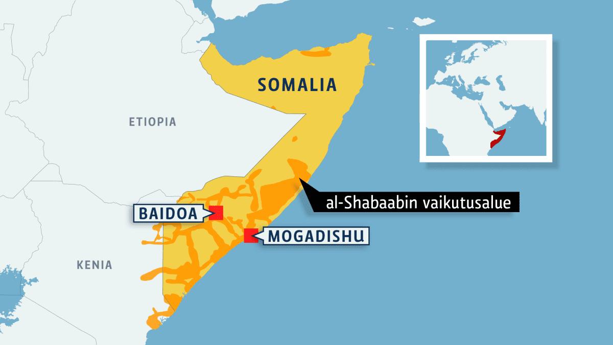Somalian kartta, johon merkitty al-Shabaabin vaikutusalue.
