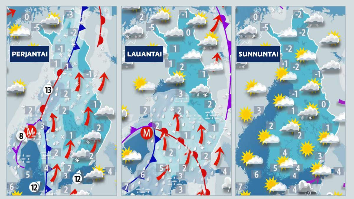 Perjantain, lauantain ja sunnuntain sääkartat.