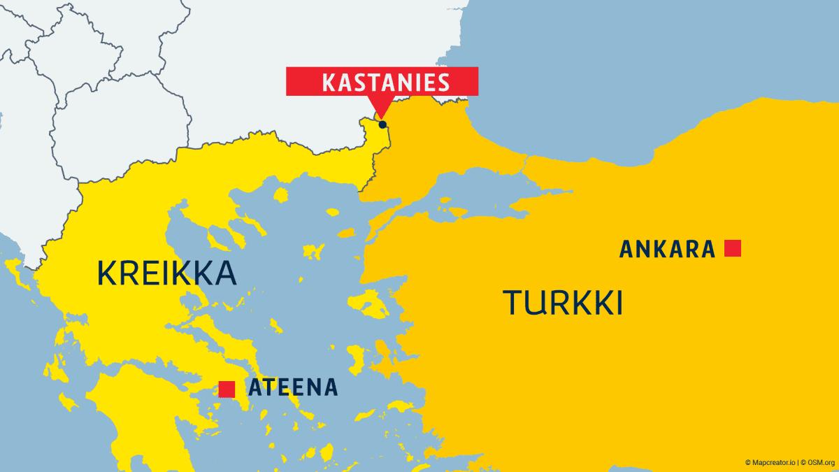 Kreikka, Turkki, Ateena, Ankara ja rajakaupunki Kastanies merkittynä kartalla