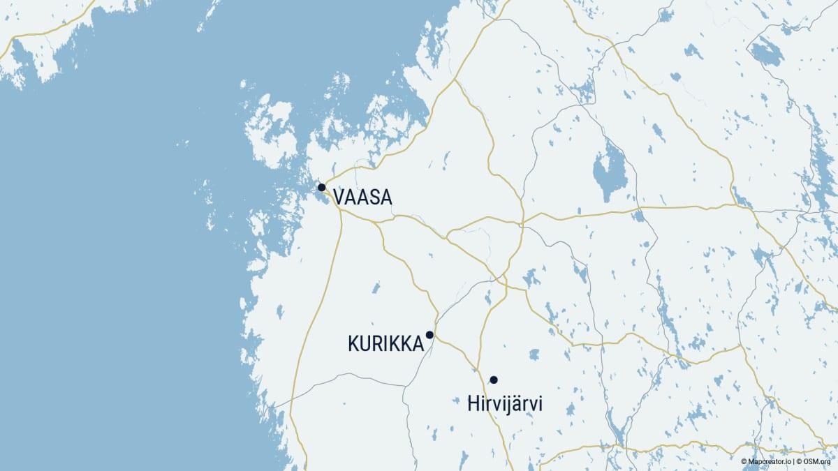 Kurikka, Hirvijärvi ja Vaasa karttaan merkittynä Pohjanmaalla
