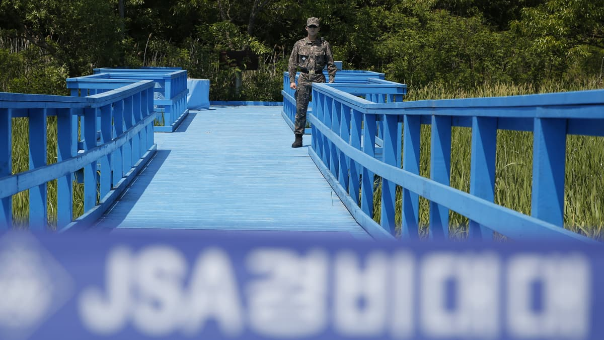 eteläkorealainen sotilas vartiossa Etelä-Korean ja Pohjois-Korean rajalla Panmunjomissa.