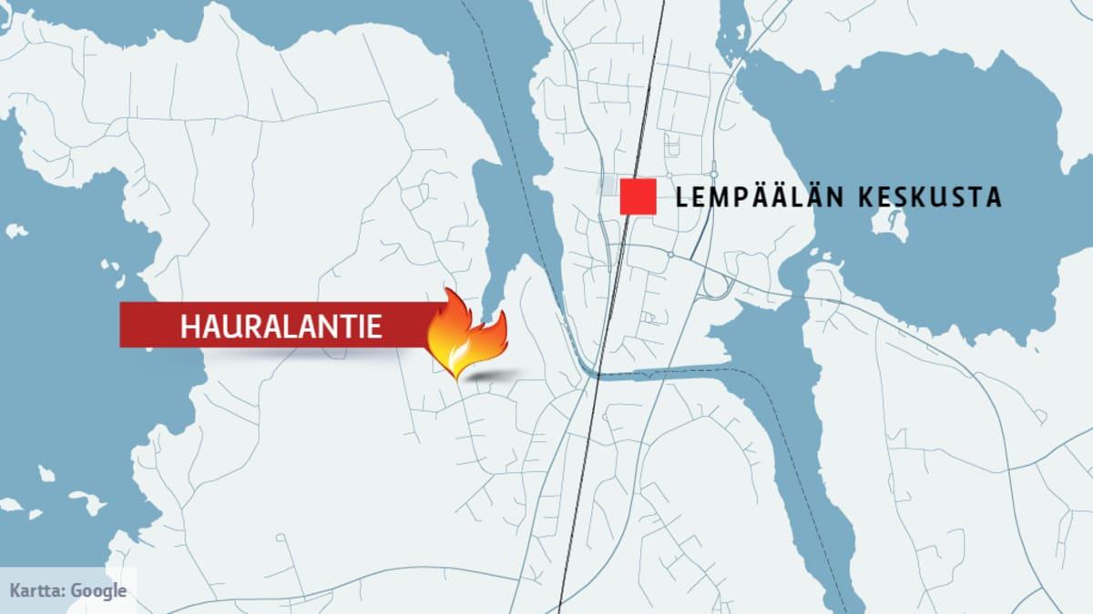 Kartta Hauralantien sijainnista