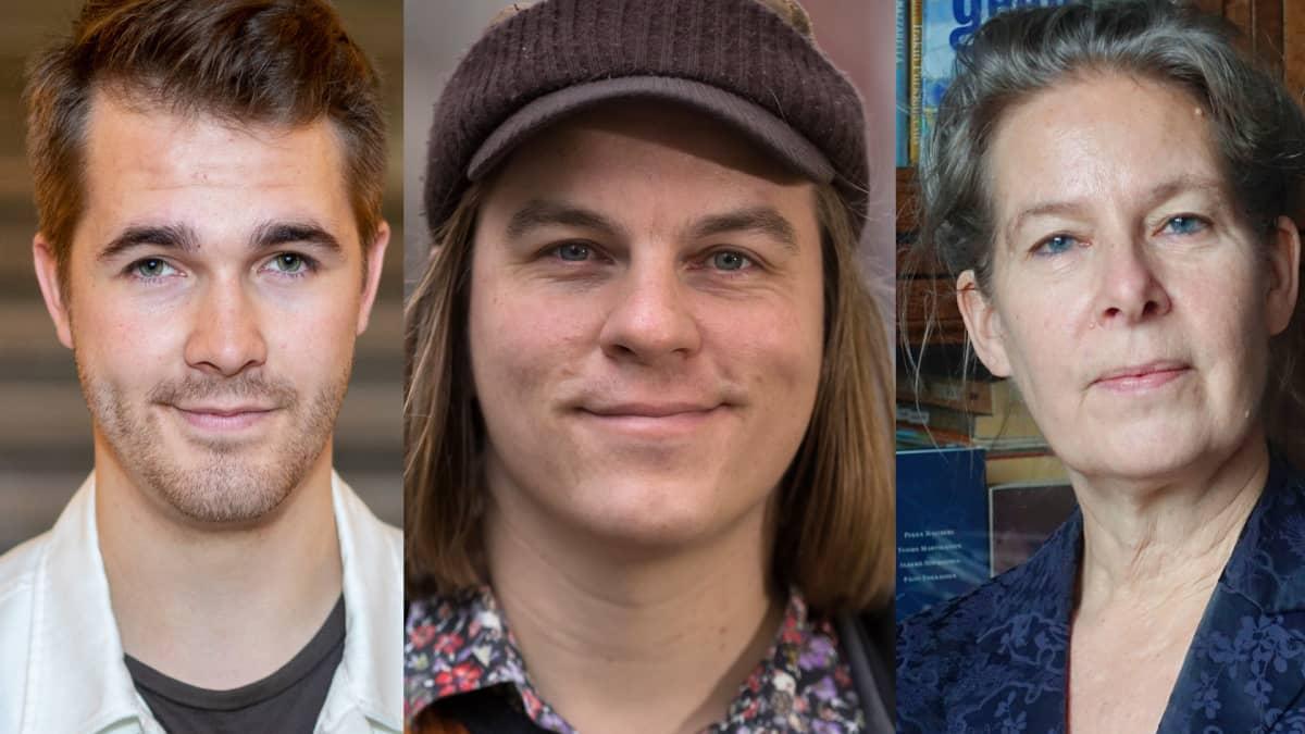 Tulevaisuudentutkija Perttu Pölönen, filosofi Frank Martela sekä Terveyden ja hyvinvoinnin laitoksen lääkäri Hanna Nohynek.