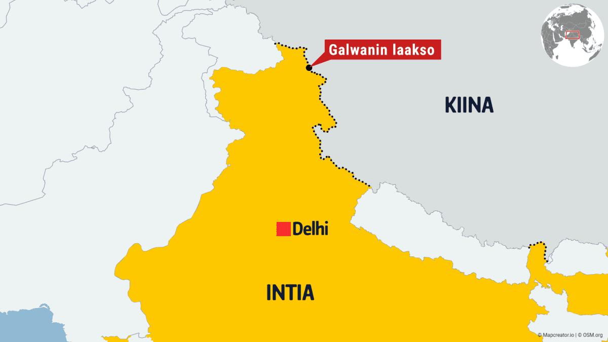 Kartta Intian ja Kiinan rajalta.