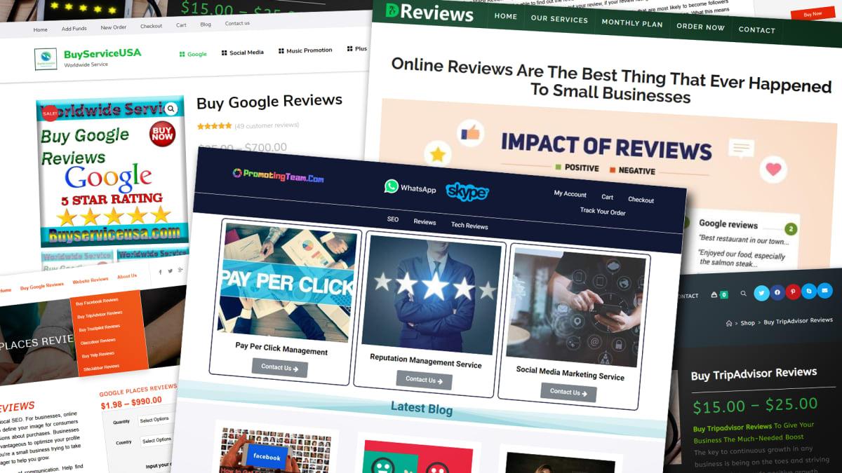 Kuvakaappauksia nettikauppojen tuotearvosteluja tarjoavista yrityksistä