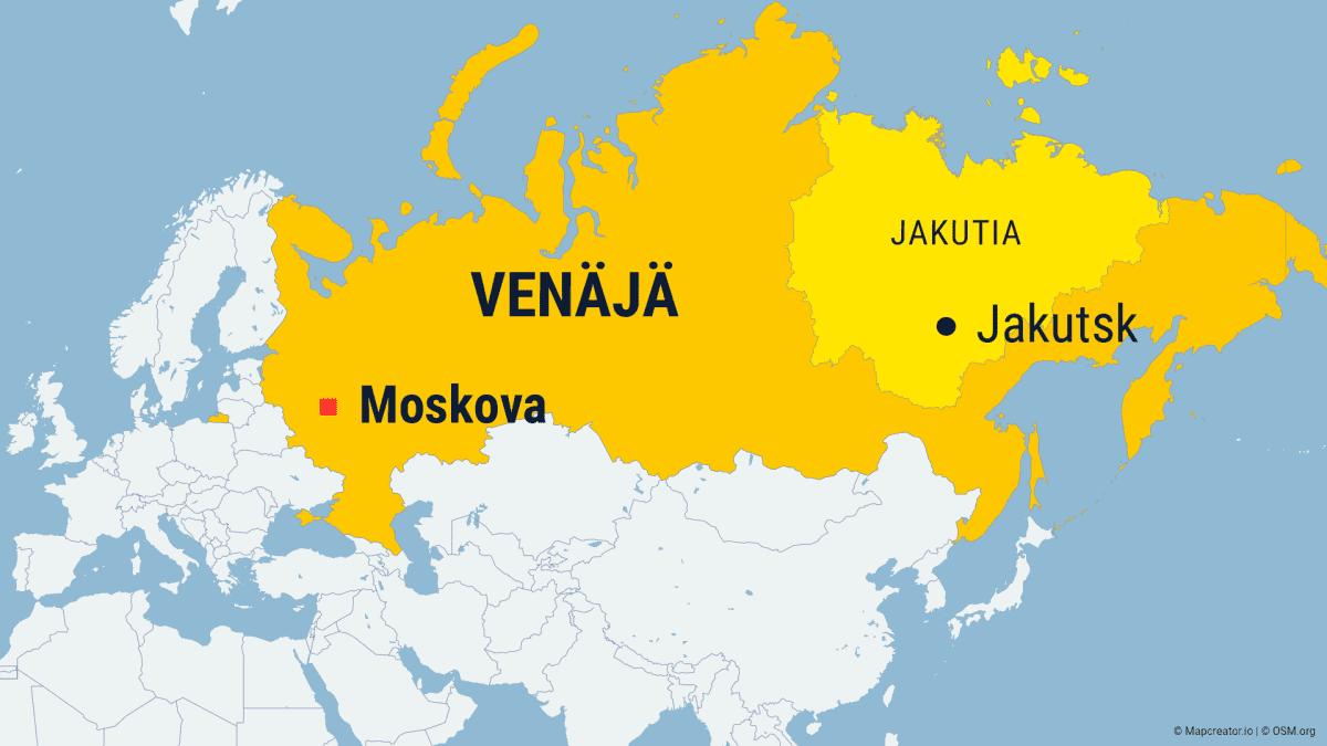 Venäjän kartta, jossa näkyy Jakutian maakunta sekä Moskovan ja Jakutskin sijainnit.