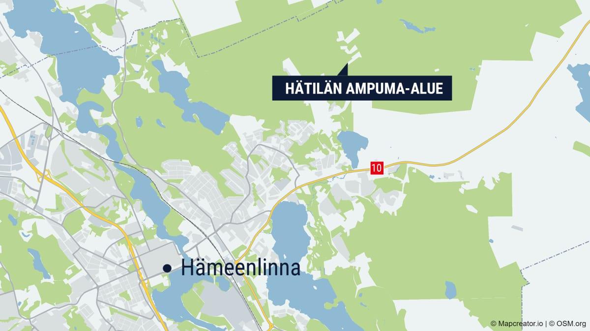 Hämeenlinnan kartta, johon on merkattu Hätilän ampuma-alue.