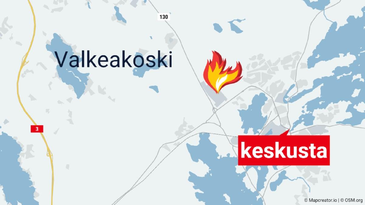 Kartta palon sijainnista Valkeakoskella