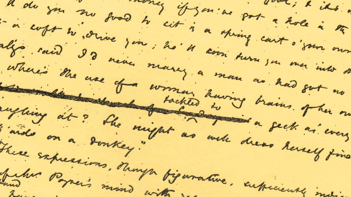 Käsikirjoitussivu Mary Ann Evansin novellista Adam Bede, joka julkaistiin 1859.