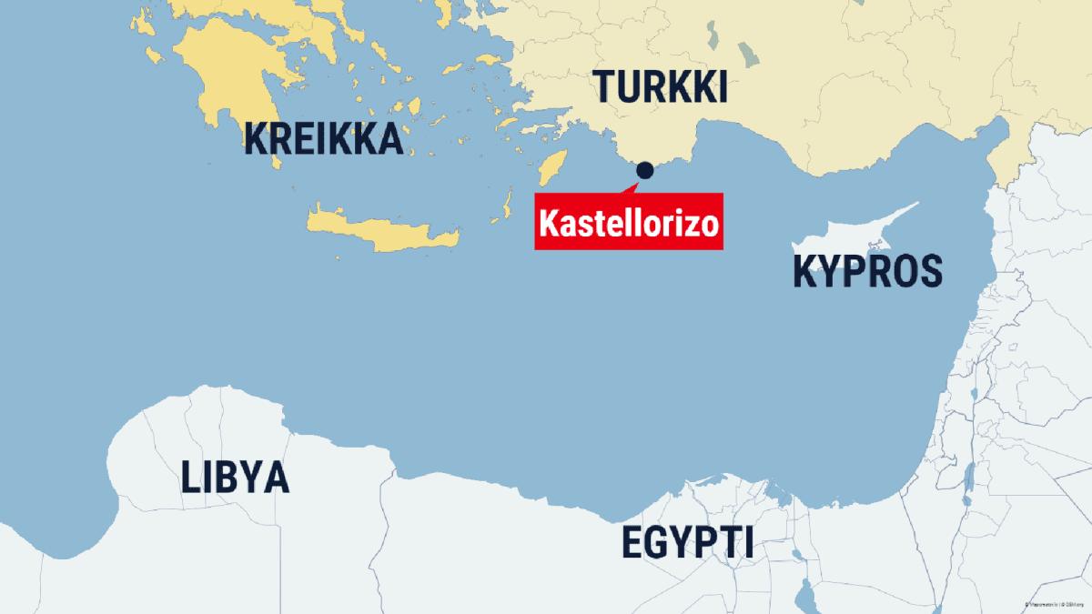 Kartta, Välimeren itäosa ja Turkin rannikolla kaupunki Kastellorizo.