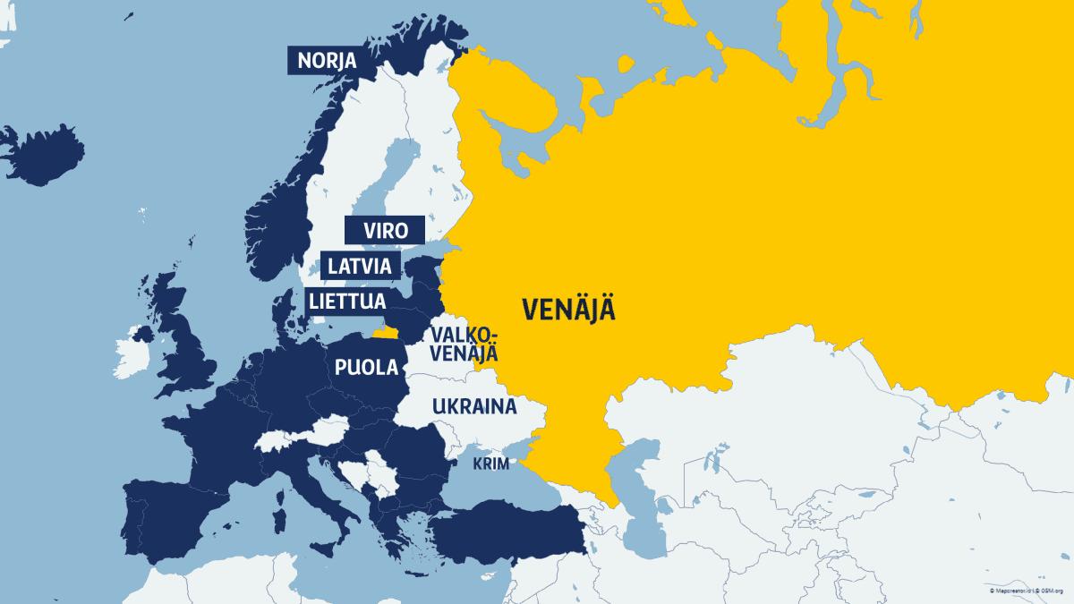 Euroopan kartta, jossa Nato-maat ja Venäjä.