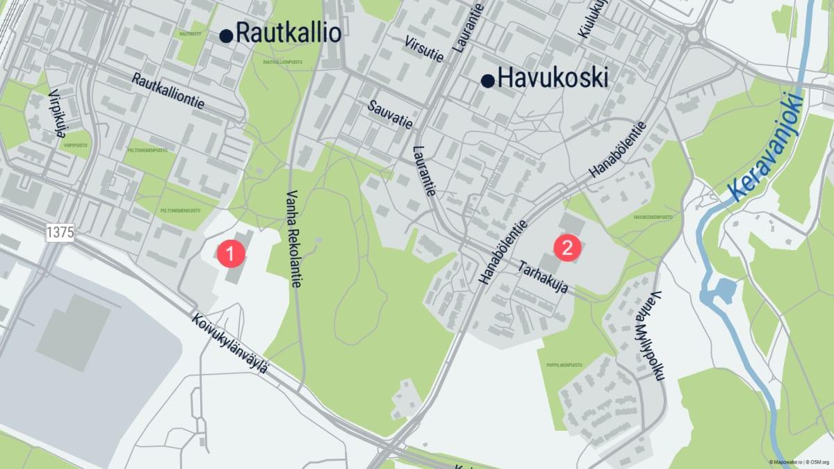 Vantaan Koivukylän koulujen alueella on tapahtunut syyskuun aikana kaksi väkivallan tekoa, joissa osalliset ovat alaikäisiä. Kuvassa 1. on Kytöpuiston koulu, jonka pihalla pahoinpideltiin 11-vuotias poika ja 2. on Havukosken koulu, jonka pihalla pahoinpideltiin 14-vuotias poika.