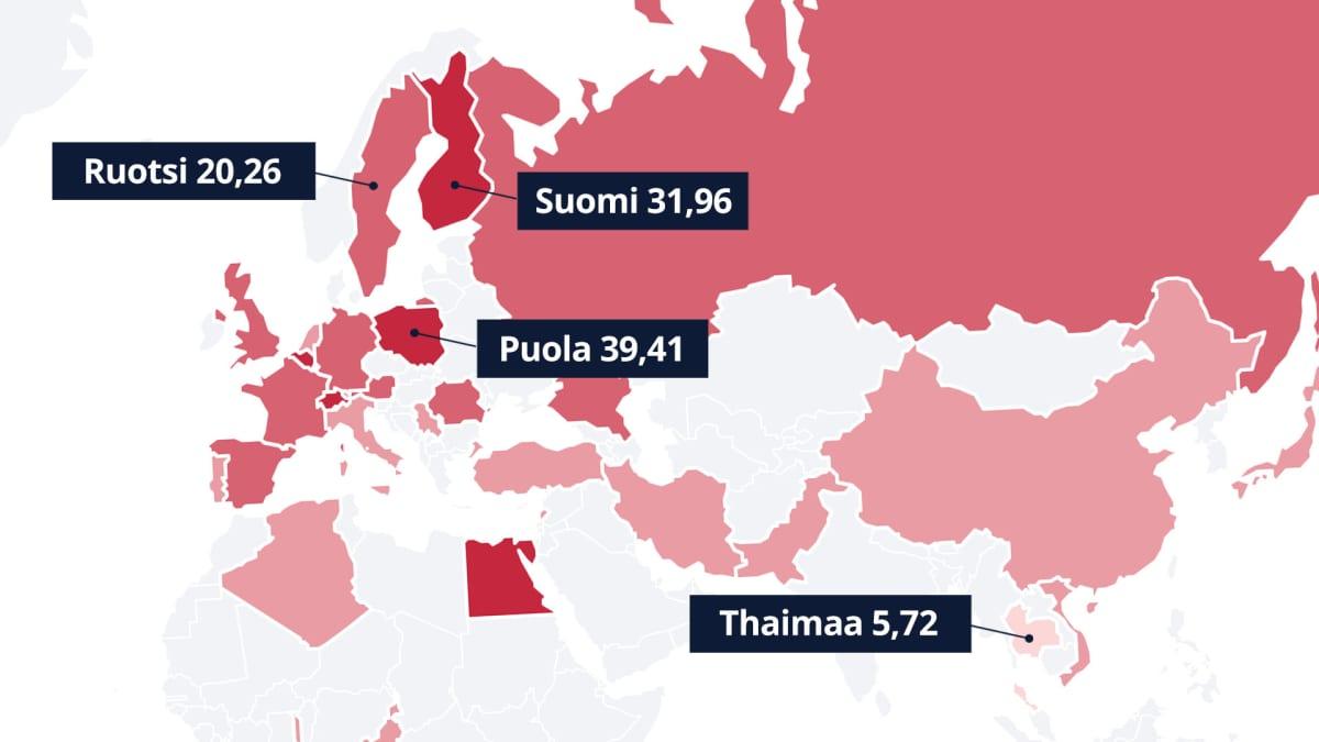 Uupumuskartta. Puola uupunein ja Thaimaa vähiten uupunut tutkituista.