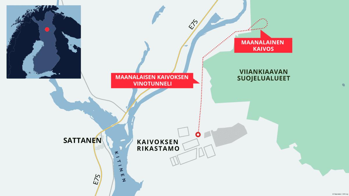 Kaivoksen rikastamolta veisi viiden kilometrin tunneliverkosto Viiankiaavan alle malmilouhokseen. Kartta perustuu Sakatin kaivoshankkeen YVA-selostukseen.